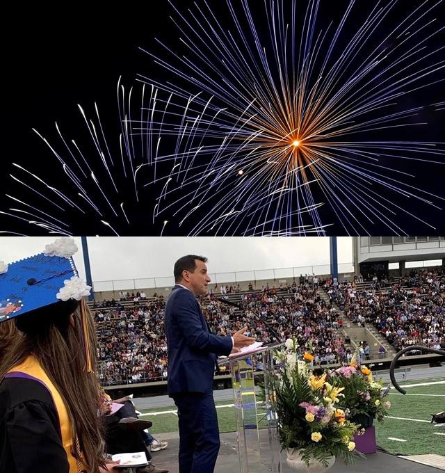Fireworks and Speaker delivering address