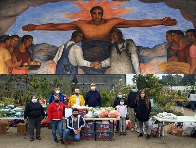 Mural and food distribution