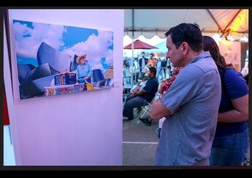 Anthony Rendon views art at the 2018 SELA Arts festival