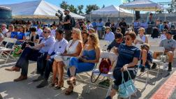 Festivalgoers listen to a discussion on the future of the L.A. River.