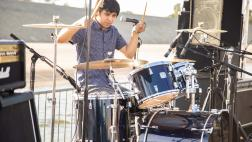 The Altons drummer performs on stage.